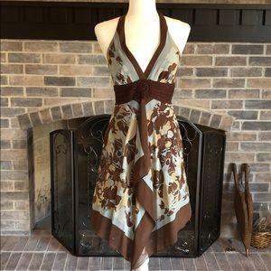 BCBGMaxazria Brown/turquoise halter dress size 2.